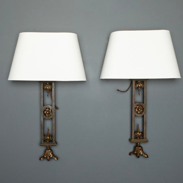 Tall Iron Sconces Made from Antique Balustrades - a Pair For Sale - Image 9 of 9