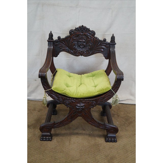 19th Century Oak Renaissance Savonarola Arm Chair - Image 5 of 10
