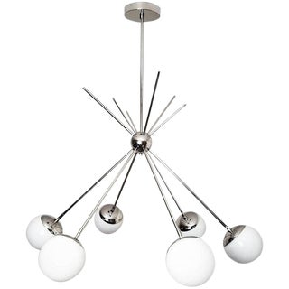 "Blueprint Lighting Model 220 ""Burst"" Chandelier in Polished Nickel and Glass For Sale"