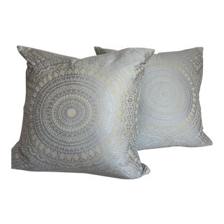 Boho Chic Mermoz Delft Pillows and Inserts - a Pair For Sale