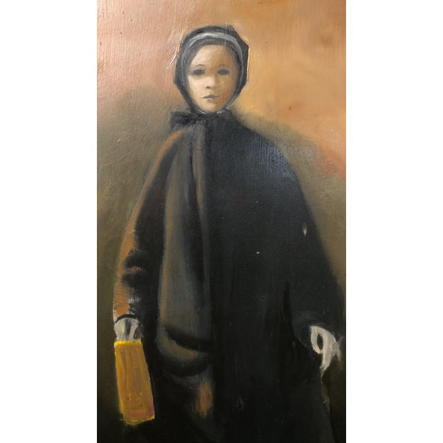 Girl with a Black Coat -1961 Mid century Modern Oil painting by Weber - Image 4 of 10