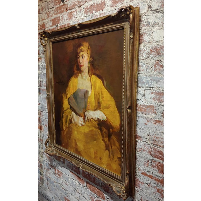 Canvas William Frederick Foster -Woman Wearing White Gloves- Oil Painting- C1940s For Sale - Image 7 of 11
