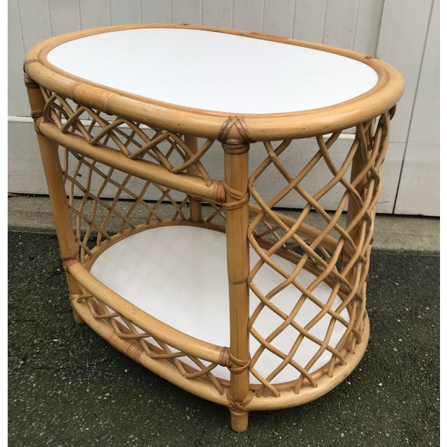 WIllow and Reed Oval Bamboo Side Table For Sale - Image 13 of 13