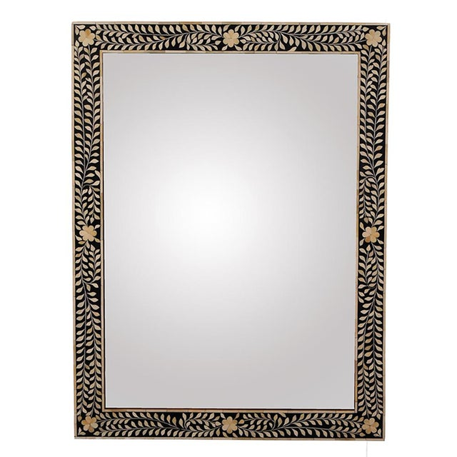 This beautiful handcrafted black and white Imperial Beauty mirror, with its natural bone floral inlays, is truly...
