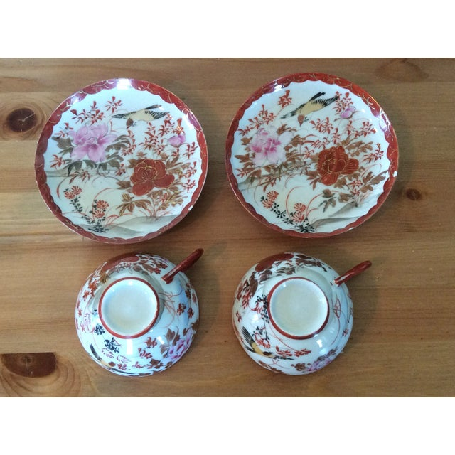 1920's Satsuma Eggshell Cups & Saucers - A Pair - Image 4 of 8