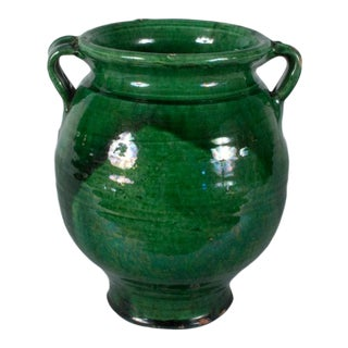 Early 20th Century French Green Terracotta Confit Jar For Sale
