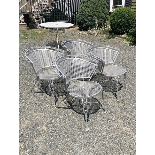 Metal Mid Century Modern Woodard Round Outdoor Dining Set For Sale - Image 7 of 12