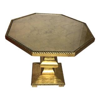 1960s Hollywood Regency Gold Leaf Octagonal Side Table For Sale