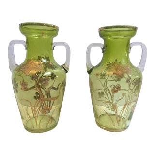 Moser Green Bohemia Crystal / Glass Vases With Handles - a Pair