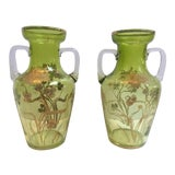Image of Moser Hand Enameled Green Bohemia Crystal / Glass Vases With Handles - a Pair For Sale