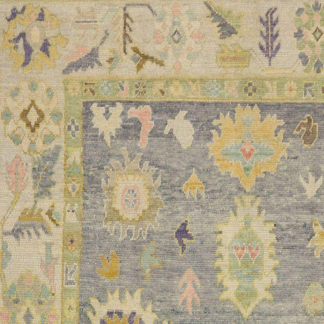 Contemporary Turkish Oushak Rug in Pastel Colors with Tribal Boho Chic Style For Sale In Dallas - Image 6 of 9