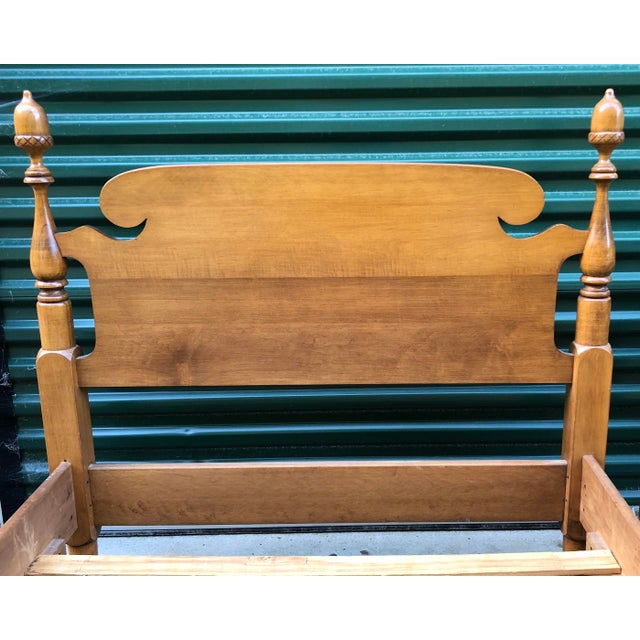 Traditional Solid Maple Vintage Acorn Top Twin Beds- a Pair For Sale - Image 3 of 13