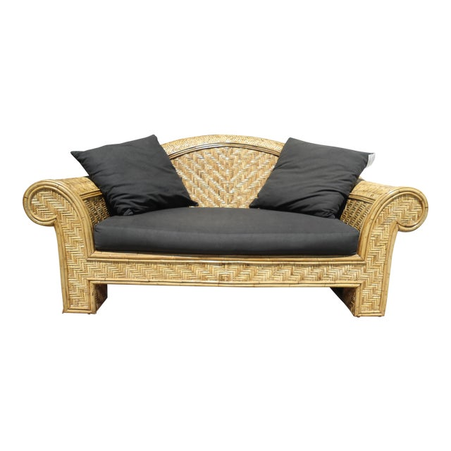 Wicker Frame & Black Cushions Outdoor Sofa - Image 1 of 6