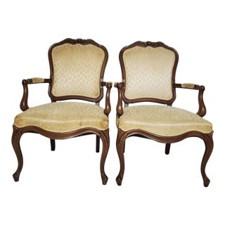 French Style Upholstered Head Dining Chairs - a Pair For Sale