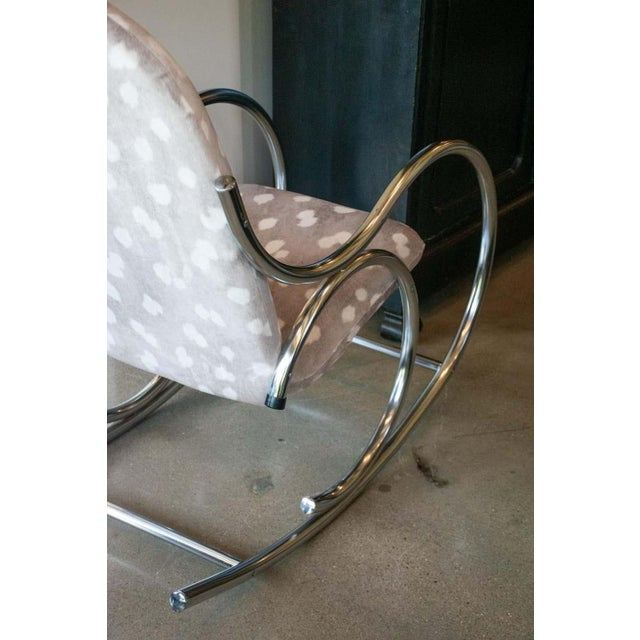 Sand Vintage Chrome Rocking Chair For Sale - Image 8 of 11