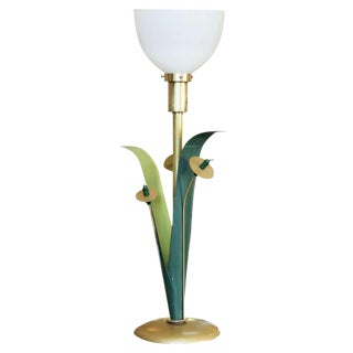 Mid-Century Cattail Brass Torchiere Table Lamp For Sale