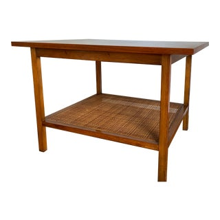 Mid Century Modern Walnut and Cane Side Table by Lane Furniture For Sale