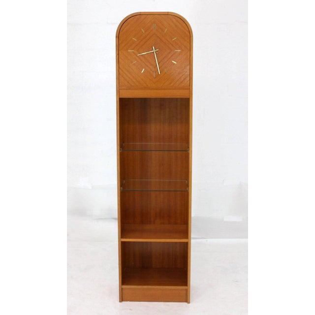 1980s Secret Compartment Grandfather Clock Danish Modern Teak Bookcase Shelf For Sale