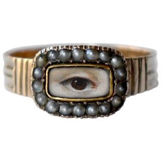 19th Century Lover's Eye Georgian Seed Pearl Ring For Sale