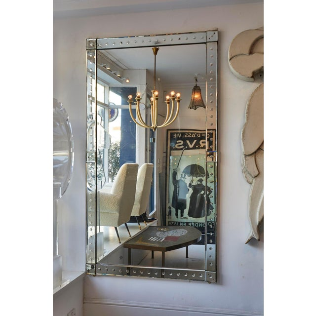 Italian Lovely Original Pair Large Venetian Mirrors With Mirrored Borders For Sale - Image 3 of 5