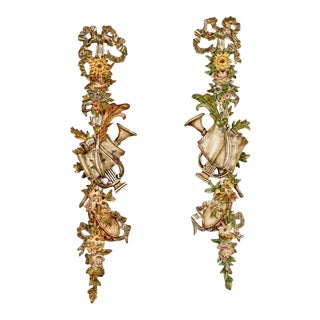 Pair 19th Century Tall Painted and Gilded Wall Carvings Depicting Spring and the Arts