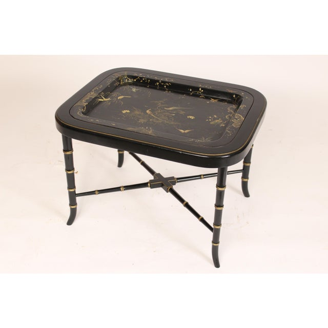 English Regency Style Paper Mache Tray Table For Sale - Image 4 of 11