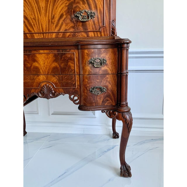 1900 - 1909 Antique Ca 1900's Georgian Chippendale English Style Mahogany Claw Feet Highboy Dresser For Sale - Image 5 of 13