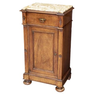 19th Century French Louis Philippe Period Tall Marble Top Bedside Table or Lamp Stand For Sale