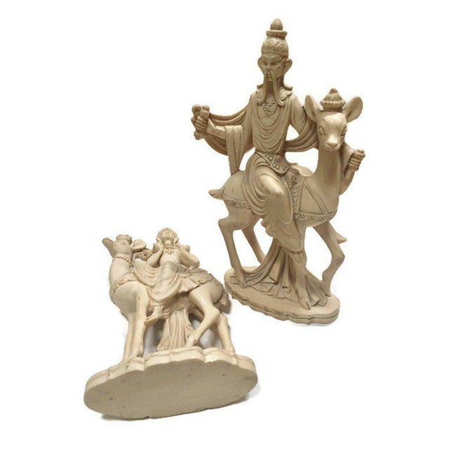 Mid Century Chinoiserie God & Goddess on Deer Statue Set - a Pair For Sale - Image 9 of 13