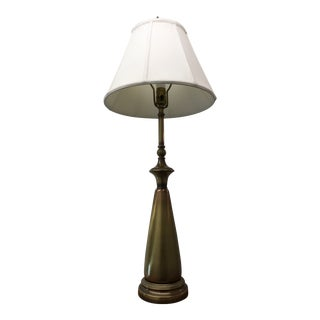 Rembrandt Mid-Century Modern Solid Brass Table Lamp & Shade - a Pair For Sale