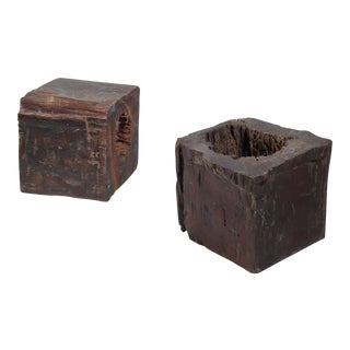 Pair of wooden craft stools from Brazil, 19th century