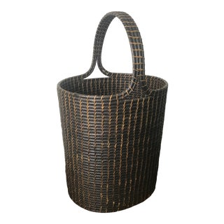 1970s Willow Branch Woven Basket With Handle For Sale