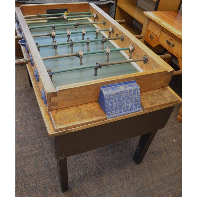 Industrial Foosball Game Sports Table From Italy on Handmade Wooden Base; Mid Century For Sale - Image 3 of 13