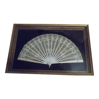 Framed Vintage Silk/Celluloid Fan in Shadow Box Frame For Sale