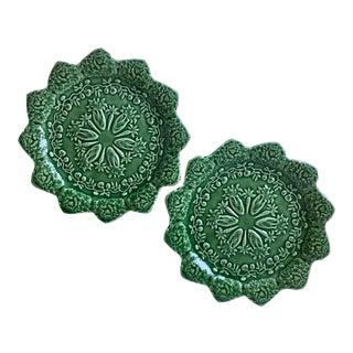 2 Green Majolica Plates- Bordallo Pinheiro