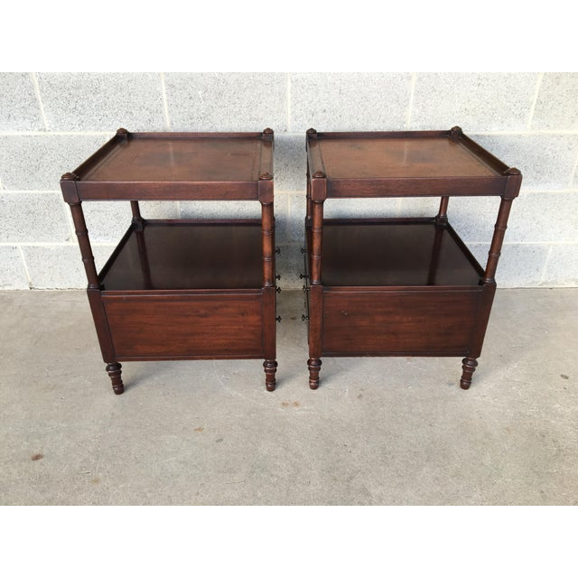 Baker Furniture Leather Top Mahogany 2 Drawer End Tables - a Pair - Image 4 of 11