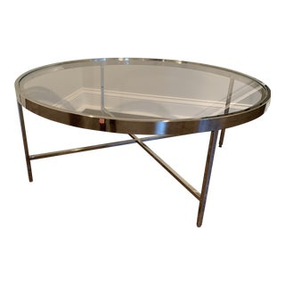 Polished Stainless Steel and Glass Cocktail Table For Sale