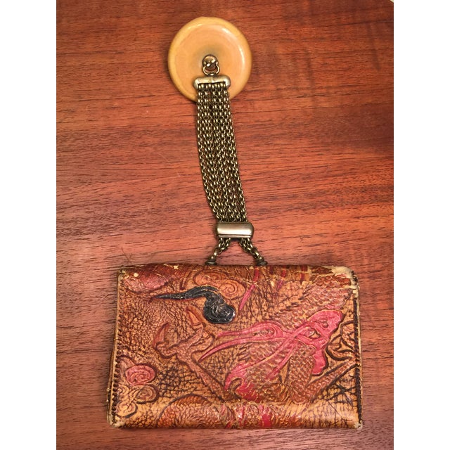 Late 19th Century Elaborate Meiji Period Embossed Leather and Silver Tobacco Pouch For Sale - Image 11 of 13