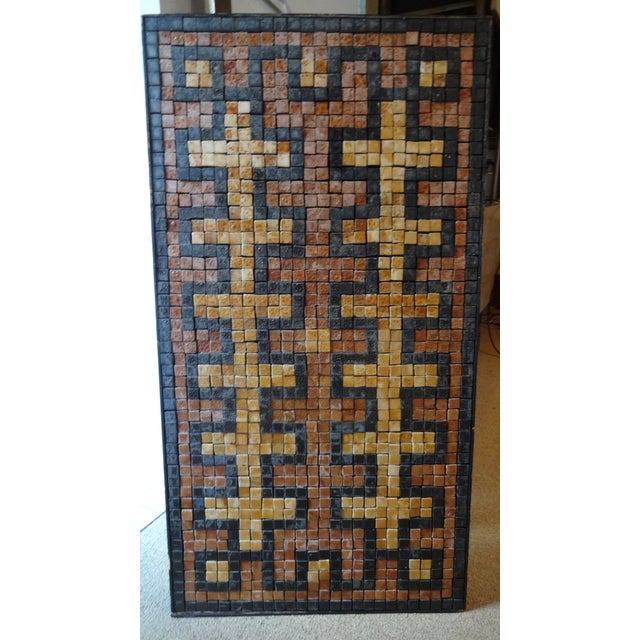 Mid-Century Greek Key Marble Mosaic Wall Art or Table Top For Sale - Image 12 of 12