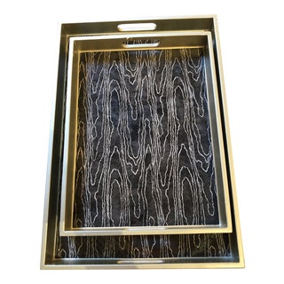Made Goods Black and Gold Serving Trays - Pair For Sale
