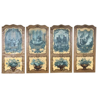 Set of Four Singerie Decorated Panels For Sale