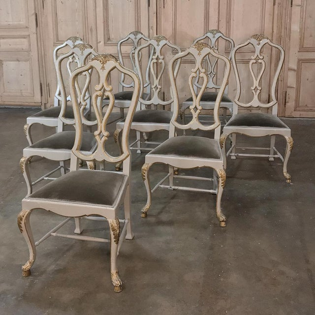 Eight 19th CenturyPainted and Gilded Italian Dining Chairs- Set of 8 For Sale In Dallas - Image 6 of 13