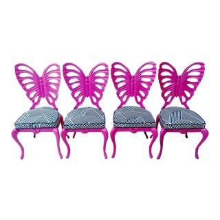 Rare Vintage Brown Jorden Hot Pink Cast Iron Butterfly Back Patio Chairs Black White Striped Fabric Set of 4 For Sale