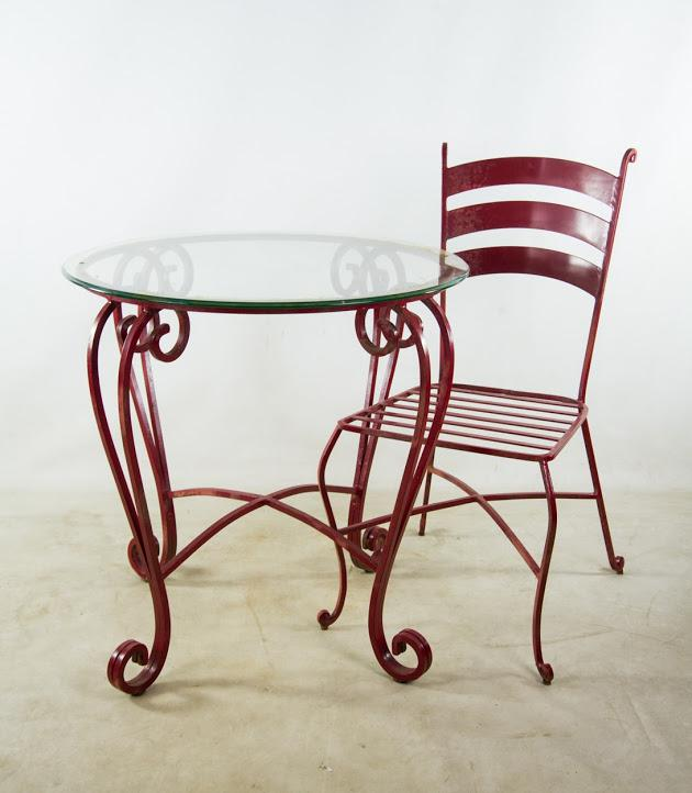 Dark Red Painted Wrought Iron Bistro Table U0026 Chairs   Set Of 3   Image 2