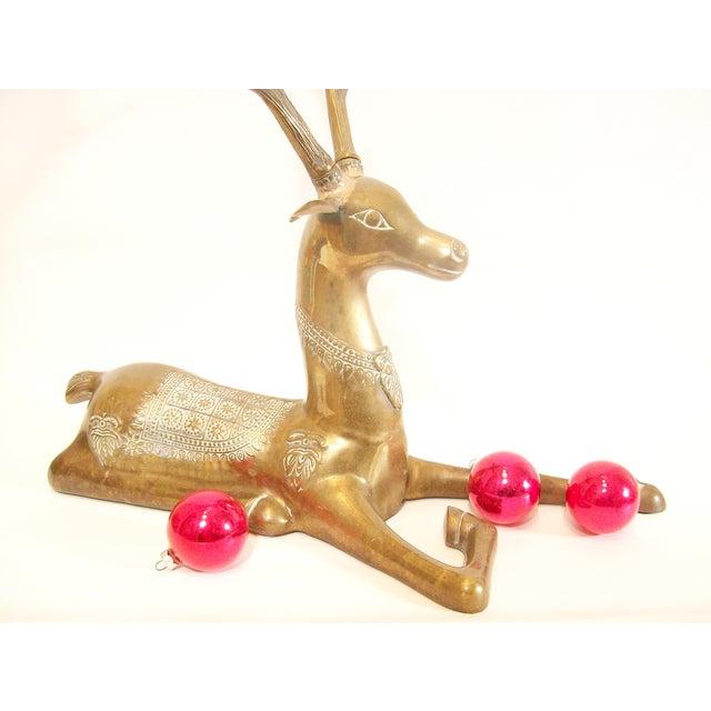 Hollywood Regency Brass Reindeer Statue - Image 7 of 9