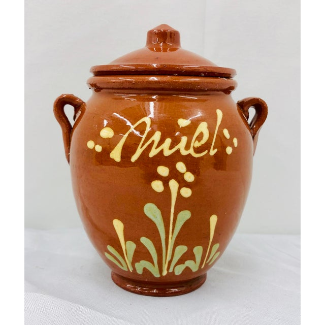 Stunning antique hand crafted (Handmade and hand painted) French red clay terra-cotta pottery container / Jug. Delicately...