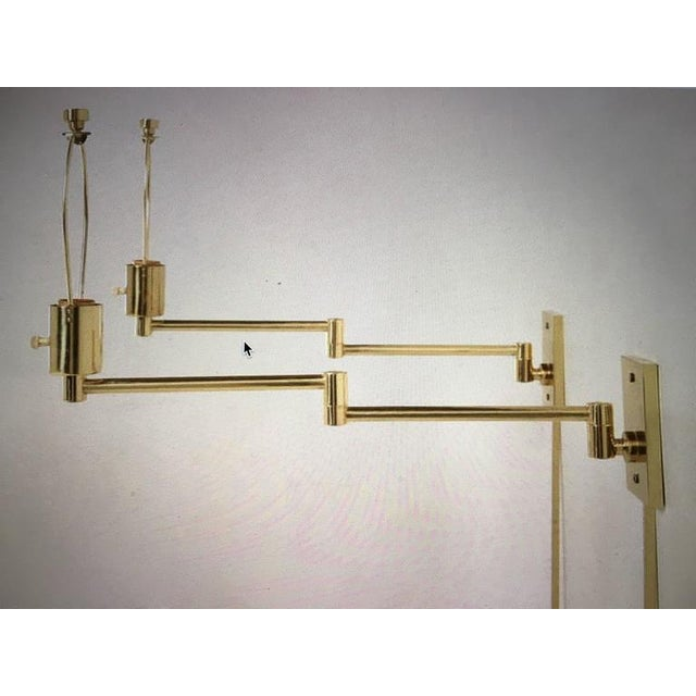 Vintage Hansen Brass Swing Arm Wall Lamps - A Pair For Sale - Image 4 of 9