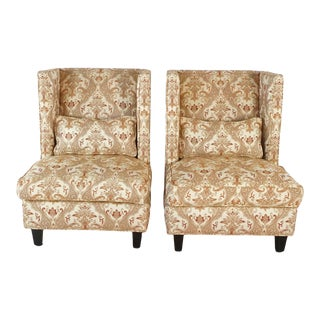 Wingback Style Slipper Chairs - a Pair For Sale