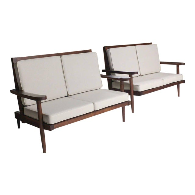Pair of George Nakashima Walnut Settees with Arms New Upholstery For Sale