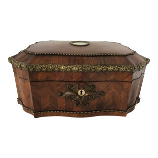 Mid 19th Century Antique French Marquetry Jewel Box For Sale